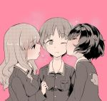 3girls absurdres alternate_hair_length alternate_hairstyle anglerfish aomushi_(mushamusha) bangs blunt_bangs breath commentary_request emblem eyebrows_visible_through_hair from_side girl_sandwich girls_und_panzer grin half-closed_eyes halftone heart heart-shaped_pupils highres jacket kiss long_hair long_sleeves military military_uniform multiple_girls nishizumi_miho one_eye_closed ooarai_military_uniform open_mouth partially_colored pink_background sandwiched shirt short_hair simple_background smile symbol-shaped_pupils takebe_saori tearing_up uniform upper_body very_short_hair yuri