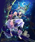 1girl aqua_hair artist_name bare_shoulders bird blue_eyes bracer bug capelet fantasy firefly forest gyakushuu_no_fantasica hair_ribbon high_heels highres holding holding_sword holding_weapon in_tree insect looking_at_viewer moon nature night night_sky official_art owl ribbon sheath sheathed short_hair sitting skirt sky sleeping smile solo squirrel striped sword thigh-highs tree watermark weapon white_footwear white_legwear white_skirt yukikana