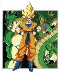 1boy blonde_hair boots clenched_hands clothes_writing dougi dragon dragon_ball dragonball_z full_body hand_on_hip highres looking_at_viewer male_focus official_art outside_border porunga red_eyes serious shenlong_(dragon_ball) short_hair simple_background son_gokuu spiky_hair super_saiyan toriyama_akira white_background wristband