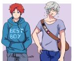 2boys absurdres bag blue_eyes blue_hair cape fire_emblem fire_emblem:_fuuin_no_tsurugi fire_emblem:_kakusei fire_emblem_heroes glasses headband headphones highres jacket karbuitt male_my_unit_(fire_emblem:_kakusei) mamkute multiple_boys my_unit_(fire_emblem:_kakusei) nintendo redhead roy_(fire_emblem) short_hair simple_background smile super_smash_bros. super_smash_bros_for_wii_u_&_3ds super_smash_bros_ultimate white_hair yellow_eyes