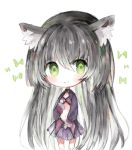 1girl absurdly_long_hair animal_ear_fluff animal_ears bangs black_hair blush cat_ears chibi closed_mouth commentary cottontailtokki eyebrows_visible_through_hair full_body green_eyes hair_between_eyes hand_up isekai_maou_to_shoukan_shoujo_dorei_majutsu long_hair long_sleeves looking_at_viewer navel pleated_skirt purple_skirt rem_galeu skirt smile solo standing very_long_hair