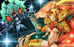 2girls abs adapted_costume alternate_form arm_cannon black_hair black_sclera blonde_hair blue_eyes blue_skin breasts cleavage dark_samus dual_wielding evil_smile fangs hakuramen high_ponytail highres holding kill_la_kill looking_at_another medium_breasts metroid mole mole_under_mouth multicolored_hair multiple_girls nintendo parody ponytail redhead revealing_clothes samus_aran smile suspenders sword toned two-tone_hair weapon