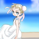 1girl blonde_hair blue_eyes bun_cover chrono_cross clouds commentary_request double_bun dress looking_at_viewer marcy_(chrono_cross) outdoors s-a-murai short_hair sky smile solo standing
