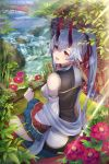 1girl breasts bridge china_dress chinese_clothes commentary_request dress fate/grand_order fate_(series) floral_background hair_ribbon head_tilt highres holding holding_umbrella large_breasts long_hair looking_at_viewer nature oni_horns pantsu_majirou red_eyes red_ribbon ribbon river silver_hair sitting smile solo tomoe_(symbol) tomoe_gozen_(fate/grand_order) umbrella water waterfall