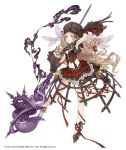 1girl :o blonde_hair breasts bustier frilled_skirt frills full_body gloves hand_behind_head hat high_heels holding holding_staff ji_no little_red_riding_hood_(sinoalice) long_hair midriff navel official_art platform_footwear ribbon sinoalice skirt small_breasts solo staff very_long_hair white_background yellow_eyes
