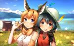 2girls animal_ears backpack bag bare_shoulders black_hair bow bowtie bucket_hat caracal_(kemono_friends) caracal_ears center_frills commentary elbow_gloves eyebrows_visible_through_hair feathers gloves hat kaban_(kemono_friends) kemono_friends light_brown_hair multicolored_hair multiple_girls shirt short_hair short_sleeves sleeveless t-shirt v welt_(kinsei_koutenkyoku)