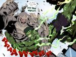 battle black_hair blood blue_sky city crossover dc_comics doomsday_(dc) fighting giant glowing glowing_eyes green_eyes green_skin grey_skin henil031 hulk marvel monster muscle red_eyes sky speech_bubble spikes tagme