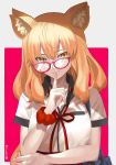 1girl animal_ears aora bag bespectacled fang fate/extra fate/extra_ccc fate/extra_ccc_fox_tail fate/grand_order fate_(series) finger_to_mouth fox_ears fox_tail glasses highres long_hair school_bag scrunchie signature smile suzuka_gozen_(fate) tail wrist_scrunchie