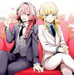 1boy 1other :d ;d arm_at_side astolfo_(fate) bangs black_neckwear black_ribbon blonde_hair blue_eyes blue_shirt blush braid chevalier_d'eon_(fate/grand_order) collared_shirt couch cross eyebrows_visible_through_hair fang fate/grand_order fate_(series) floral_background flower formal grey_vest hair_intakes hair_over_shoulder hair_ribbon hand_up heart jacket long_hair long_sleeves low-tied_long_hair low_ponytail multicolored_hair necktie on_couch one_eye_closed open_clothes open_jacket open_mouth own_hands_together pants petals pink_flower pink_hair pink_rose purple_jacket ribbon rose rose_petals rui_shi_(rayze_ray) shirt sidelocks single_braid sitting smile streaked_hair striped striped_shirt suit vertical-striped_shirt vertical_stripes very_long_hair vest violet_eyes waving white_background white_hair white_jacket white_pants white_shirt wing_collar