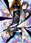 1boy araragi_karen araragi_koyomi araragi_tsukihi black_hair black_hanekawa blue_hair denim green_eyes grey_eyes grey_hair hachikuji_mayoi hair_ornament hairclip hanekawa_tsubasa highres hood hoodie japanese_clothes jeans kanbaru_suruga kimono looking_at_viewer looking_back monogatari_(series) oikura_sodachi ononoki_yotsugi pants raincoat red_eyes sengoku_nadeko shatter shattering twintails watanabe_akio white_eyes white_hair yukata