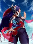 1girl armor ass blue_eyes blue_sky blush bodysuit breasts closed_mouth clouds commentary english_commentary from_behind from_below georgy_stacker hair_ornament hands highres irelia large_breasts league_of_legends long_hair multicolored_hair purple_bodysuit purple_hair sky solo