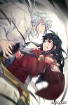 2boys black_eyes black_hair brothers clenched_teeth eye_contact facial_mark fingernails floating_hair gearous highres holding holding_sword holding_weapon inuyasha inuyasha_(character) japanese_clothes katana kimono long_hair looking_at_another male_focus multiple_boys red_kimono sesshoumaru sharp_fingernails siblings silver_hair sword teeth weapon