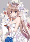 1girl animal bangs bare_shoulders basket blue_eyes blue_flower blush bouquet bow bowtie breasts choker cleavage commentary_request dress elbow_gloves eyebrows_visible_through_hair fal_(girls_frontline) ferret flower girls_frontline gloves hair_between_eyes hair_flower hair_ornament highres holding holding_basket holding_bouquet jewelry light_brown_hair long_hair lunacats medium_breasts parted_lips pendant petals red_neckwear see-through side_ponytail sidelocks solo strapless strapless_dress tiara veil very_long_hair white_choker white_dress white_flower white_gloves