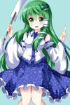 1girl arm_up bare_shoulders blue_background blue_skirt blush breasts cowboy_shot detached_sleeves eyebrows_visible_through_hair frilled_skirt frills frog_hair_ornament gohei green_eyes green_hair hair_between_eyes hair_ornament hair_tubes highres index_finger_raised knees_together kochiya_sanae long_hair looking_at_viewer nontraditional_miko oonusa open_mouth ruu_(tksymkw) sidelocks simple_background skirt small_breasts snake_hair_ornament solo touhou very_long_hair vest white_vest