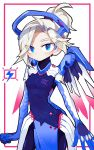 1girl alternate_color blue_eyes blush bodysuit breasts commentary e-sports english_commentary faulds grey_hair hair_over_one_eye high_ponytail highres mechanical_halo mechanical_wings mercy_(overwatch) new_york_excelsior overwatch pelvic_curtain rye-beer small_breasts solo spread_wings wings