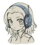 1girl closed_mouth commentary ear_protection english_commentary girls_und_panzer greyscale hair_slicked_back headphones jacket looking_at_viewer military military_uniform monochrome pas_(paxiti) portrait rosehip short_hair simple_background solo uniform white_background