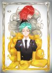 2others absurdres ahoge androgynous closed_eyes crystal_hair gem_uniform_(houseki_no_kuni) glowing gold golden_arms green_hair hair_over_eyes highres houseki_no_kuni mercury mii_mi-yi multiple_others necktie phosphophyllite redhead shinsha_(houseki_no_kuni) short_hair