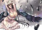 1girl albedo armpits arms_behind_head arms_up bangs bare_shoulders black_hair black_wings blush breasts cleavage collarbone demon_girl demon_horns detached_collar dress feathered_wings feathers hair_between_eyes highres hip_vent hips horns kneeling large_breasts long_hair looking_at_viewer overlord_(maruyama) piromizu solo very_long_hair white_dress wings
