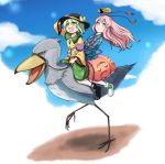 2girls :d ajia_(otya3039) animal arm_up bird black_hat blouse blue_sky bow bow_footwear closed_eyes collared_blouse commentary_request eyeball face_mask floating_hair floral_print full_body green_bow green_eyes green_hair green_skirt hand_on_headwear hands_on_another's_stomach happy hat hat_bow hat_ribbon hata_no_kokoro heart heart-shaped_pupils heart_of_string komeiji_koishi long_hair long_sleeves mask mask_on_head multiple_girls multiple_riders open_mouth oversized_animal parted_lips pink_eyes pink_hair plaid plaid_blouse ribbon riding riding_bird rose_print running shoebill shoes short_hair skirt sky smile string symbol-shaped_pupils third_eye touhou wide_sleeves yellow_blouse yellow_bow yellow_ribbon