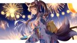 1girl :d aerial_fireworks animal_ears bangs blurry blurry_background blush brown_hair commentary_request copyright_request depth_of_field eyebrows_visible_through_hair fingernails fireworks floral_print fox_ears fox_girl fox_tail from_side hair_between_eyes highres holding itsia japanese_clothes kimono kitsune long_hair long_sleeves looking_at_viewer looking_to_the_side multiple_tails night night_sky obi open_mouth ponytail print_kimono railing sash sky smile solo tail two_tails violet_eyes white_kimono wide_sleeves wind_chime