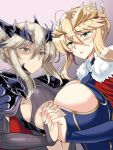 2girls ahoge armor artoria_pendragon_(all) artoria_pendragon_(lancer) artoria_pendragon_(lancer_alter) blonde_hair blush braid breasts cape cleavage cleavage_cutout crown crown_braid dual_persona expressionless eyebrows_visible_through_hair fate/grand_order fate_(series) fur_trim green_eyes hand_holding large_breasts looking_at_viewer multiple_girls navel pale_skin red_cape shoulder_armor simple_background stomach tiara under_boob upper_body yasakani_an yellow_eyes