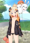 1girl abigail_williams_(fate/grand_order) arms_at_sides ass_visible_through_thighs bandaid bandaid_on_forehead bangs black_bow black_jacket black_panties blonde_hair blue_sky blush bow breasts bridge clouds collarbone commentary_request crossed_bandaids dated day eyebrows_visible_through_hair eyes_visible_through_hair fate/grand_order fate_(series) fou_(fate/grand_order) fujimaru_ritsuka_(female) hair_bow hair_bun heroic_spirit_traveling_outfit holding holding_balloon holding_stuffed_animal jacket long_sleeves looking_at_viewer medjed navel no_bra open_clothes open_jacket open_mouth orange_bow outdoors panties parted_bangs polka_dot polka_dot_bow ppshex road shiny shiny_skin signature sky sleeves_past_wrists small_breasts standing street stuffed_animal stuffed_toy teddy_bear tree underwear