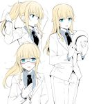 1other :d arm_behind_back arms_up bangs bespectacled black_neckwear blonde_hair blue_eyes blue_shirt chevalier_d'eon_(fate/grand_order) collared_shirt eyebrows_visible_through_hair fate/grand_order fate_(series) fedora flying_sweatdrops formal glasses hair_tie hand_up hat hat_removed headwear_removed holding holding_hat jacket long_hair long_sleeves looking_at_viewer motion_lines mouth_hold multiple_views necktie open_mouth pants ponytail rui_shi_(rayze_ray) shirt sidelocks simple_background smile suit tying_hair white_background white_jacket white_pants wing_collar