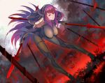 1girl bent_over bodysuit breasts dual_wielding fate/grand_order fate_(series) flower gae_bolg hair_intakes hanging_breasts highres holding holding_weapon large_breasts long_hair looking_at_viewer pauldrons polearm purple_bodysuit purple_hair red_eyes scathach_(fate)_(all) scathach_(fate/grand_order) shoulder_armor smile spear spider_lily tea_sly veil weapon
