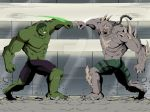 battle black_hair character_request crossover dc_comics doomsday_(dc) fighting giant glowing glowing_eyes green_eyes green_skin grey_skin henil031 hulk marvel monster muscle red_eyes spikes tagme