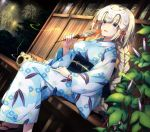1girl :d black_bow blonde_hair blue_eyes blue_kimono bow bracelet braid dutch_angle eyebrows_visible_through_hair fan fate/apocrypha fate_(series) fireworks floral_print hair_between_eyes hair_bow hand_on_lap headpiece holding holding_fan japanese_clothes jeanne_d'arc_(alter)_(fate) jeanne_d'arc_(fate) jeanne_d'arc_(fate)_(all) jewelry kimono long_hair night obi open_mouth outdoors print_kimono red_ribbon ribbon saipaco sash single_braid sitting smile smoke solo veranda very_long_hair yukata
