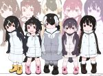 5girls alternate_costume alternate_hairstyle black_hair boots commentary_request drawstring emperor_penguin_(kemono_friends) everyone eyebrows_visible_through_hair gentoo_penguin_(kemono_friends) grey_hair hair_over_one_eye headphones hood hood_down hoodie humboldt_penguin_(kemono_friends) kemono_friends long_hair long_sleeves multicolored_hair multiple_girls orange_hair penguins_performance_project_(kemono_friends) pink_hair pleated_skirt purple_hair rockhopper_penguin_(kemono_friends) royal_penguin_(kemono_friends) seto_(harunadragon) short_hair skirt socks thigh-highs twintails white_hair younger