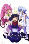 3girls :d ^_^ absurdres animal_ears ayame_(gundam_build_divers) bangs bike_shorts blue_hair blush boots bridal_gauntlets cat_ears cat_tail closed_eyes closed_eyes creature detached_sleeves dress eyebrows_visible_through_hair gundam gundam_build_divers hair_intakes highres japanese_clothes jewelry long_hair low_twintails momo_(gundam_build_divers) multiple_girls necklace newtype official_art open_mouth pantyhose pink_hair pink_skirt poking ponytail purple_hair purple_legwear sara_(gundam_build_divers) scan scarf shadow shiny shiny_hair shorts shorts_under_skirt simple_background sitting skirt smile tail thigh-highs thigh_boots toida_juri twintails very_long_hair violet_eyes wariza wavy_mouth white_background white_dress