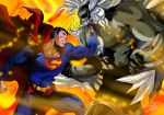 2boys battle black_hair blue_eyes cape dc_comics doomsday_(dc) fighting fire glowing glowing_eyes grey_skin multiple_boys muscle red_cape red_eyes sersiso short_hair spandex spikes superhero superman superman_(series)