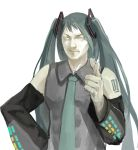 1boy azomo closed_mouth collared_shirt commentary_request detached_sleeves genderswap genderswap_(mtf) green_hair green_neckwear grey_shirt hatsune_miku highres long_hair long_sleeves looking_at_viewer necktie pointing pointing_at_viewer sanpaku shirt shoulder_tattoo simple_background sleeveless sleeveless_shirt smile solo tattoo twintails very_long_hair vocaloid white_background wing_collar