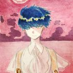 1other androgynous blue_eyes blue_hair expressionless golden_arms heterochromia hikurage_(hikurage10) houseki_no_kuni looking_at_viewer moon necktie phosphophyllite phosphophyllite_(ll) pink_sky see-through serious short_hair solo spoilers traditional_media upper_body white_eyes wind