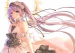 1girl absurdly_long_hair armlet bangs bare_arms bare_shoulders black_ribbon breasts choker dress euryale eyebrows_visible_through_hair fate_(series) flower frilled_dress frilled_headband frills hair_flower hair_ornament hair_ribbon hairband halo headband jewelry lolita_fashion lolita_hairband long_dress long_hair looking_at_viewer purple_hair ribbon shiny shiny_hair sleeveless sleeveless_dress small_breasts solo twintails type-moon vebonbon very_long_hair violet_eyes white_background white_dress