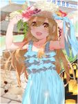 1girl alternate_costume aqua_dress arms_up brown_eyes building collarbone deer dress flower frilled_dress frills hand_on_headwear hat hataraku_saibou hibiscus highres light_brown_hair long_hair open_mouth outdoors platelet_(hataraku_saibou) see-through smile solo straw_hat waterring