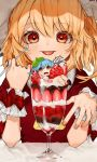2girls :p alternate_costume ascot bangs bllush blonde_hair blue_hair bow chocolate_syrup commentary_request cup dress drinking_glass eyebrows_visible_through_hair flandre_scarlet food fruit gotoh510 hair_between_eyes hands_up hat holding holding_spoon ice_cream in_container in_cup leaf leaf_on_head looking_at_viewer minigirl mob_cap multiple_girls one_side_up open_mouth red_bow red_dress red_eyes remilia_scarlet short_hair siblings sisters spoon strawberry sundae tongue tongue_out touhou upper_body white_hat wrist_cuffs yellow_neckwear