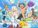 3boys 3girls alolan_exeggutor alolan_marowak alolan_vulpix beach bikini blonde_hair blue_eyes braid bubble charjabug collarbone commentary_request creatures_(company) dark_skin floatie french_braid game_freak gen_1_pokemon gen_3_pokemon gen_7_pokemon goggles gonzarez green_eyes green_hair highres kaki_(pokemon) lillie_(pokemon) lycanroc mamane_(pokemon) mao_(pokemon) multiple_boys multiple_girls nintendo ocean one-piece_swimsuit one_eye_closed palm_tree pikachu poipole poke_ball_theme pokemon pokemon_(anime) pokemon_(creature) pokemon_sm_(anime) popplio rowlet sarong satoshi_(pokemon) suiren_(pokemon) swimsuit togedemaru torracat tree tsareena turtonator ultra_beast white_sarong wingull