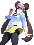 1girl absurdres black_legwear bow breasts brown_hair commentary_request double_bun green_eyes highres holding holding_poke_ball legwear_under_shorts long_hair medium_breasts mei_(pokemon) pantyhose pink_bow poke_ball poke_ball_(generic) pokemon pokemon_(game) pokemon_bw2 raglan_sleeves shirt short_shorts shorts smile solo taut_clothes taut_shirt thighs turiganesou800 twintails very_long_hair visor_cap yellow_shorts
