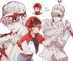 1boy 1girl ae-3803 black_eyes blood bloody_clothes cabbie_hat collared_shirt gloves hair_over_one_eye hat hataraku_saibou jacket mery_(apfl0515) package red_blood_cell_(hataraku_saibou) red_jacket shirt shorts simple_background u-1146 uniform white_background white_blood_cell_(hataraku_saibou) white_gloves white_hair white_hat white_skin