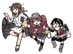 black_gloves black_skirt brown_hair double-breasted elbow_gloves fairy_(kantai_collection) fingerless_gloves gloves hair_ornament haruna_(kantai_collection) hood hoodie japanese_clothes kantai_collection kariginu magatama multiple_girls neckerchief remodel_(kantai_collection) ryuujou_(kantai_collection) scarf school_uniform sendai_(kantai_collection) serafuku shikigami single_thighhigh skirt terrajin thigh-highs translated twintails two_side_up visor_cap white_scarf