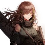 1girl arm_guards armband assault_rifle bangs breasts brown_eyes brown_hair closed_mouth damaged detached_sleeves expressionless floating_hair gas_mask girls_frontline gloves green_hair gun hair_between_eyes headphones large_breasts long_hair looking_at_viewer m4_carbine m4a1_(girls_frontline) mod3_(girls_frontline) multicolored_hair ribbed_sweater rifle sidelocks silence_girl simple_background skull_print strap streaked_hair sweater sweater_vest torn_clothes underbust upper_body weapon weapon_case white_background wind