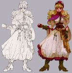 1girl blonde_hair boots breasts commentary_request curly_hair dragon_quest dragon_quest_ii dress gloves goggles goggles_on_headwear high_heel_boots high_heels hood long_hair pouch princess princess_of_moonbrook solo staff weapon white_dress white_robe