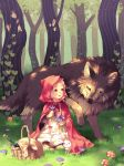 1girl :d animal basket big_bad_wolf_(grimm) blonde_hair bottle capelet cloak commentary dress flower forest full_body grass hood hood_up hooded_cloak ivy little_red_riding_hood little_red_riding_hood_(grimm) long_sleeves mushroom nature open_mouth original pink_eyes pood1e rabbit sitting smile tree wolf yellow_eyes