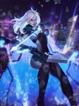 1girl arrow ashe_(league_of_legends) bodysuit boobplate bow_(weapon) breastplate breasts building drawing_bow heterochromia highres large large_breasts league_of_legends mecha_musume project:_ashe rain skyscraper tagme weapon white_hair zarory
