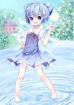 1girl absurdres barefoot blue_eyes blue_hair blurry blush bob_cut bow choko_(mixberry_parfait) cirno depth_of_field dress hair_bow hand_on_hip hand_up highres hill house ice ice_wings index_finger_raised lake looking_at_viewer neck_ribbon open_mouth pigeon-toed ribbon ripples scarlet_devil_mansion short_hair sketch sky smile solo standing standing_on_liquid touhou wings