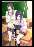 absurdres black_hair book breasts broom classroom desk glasses highres kakitama kneehighs large_breasts long_hair on_desk original reading school_uniform sitting sitting_on_desk skirt socks sweater_vest