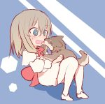 1girl animal bangs blue_background blue_eyes blush commentary dog dress eyebrows_visible_through_hair full_body girls_und_panzer highres holding holding_animal itsumi_erika leaning_back long_hair long_sleeves medium_dress miluke open_mouth shadow silver_hair sitting solo sweatdrop symbol_commentary white_dress white_pupils younger