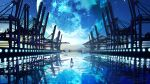 1girl black_hair crane dress facing_away fantasy highres long_hair original reflection scenery sky smile_(qd4nsvik) solo standing star_(sky) starry_sky white_dress